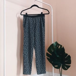 H&M Flower Pants with Leather Trim; New; Size 2